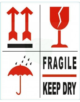 Etiket FRAGILE-KEEP DRY-PIJL-GLAS 500 pcs per roll