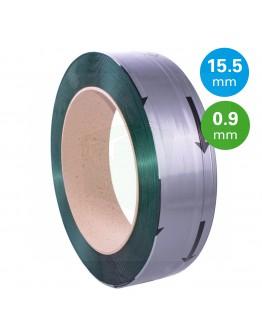 PET Band groen 15,5mm/0,90mm/1500m Gewafeld